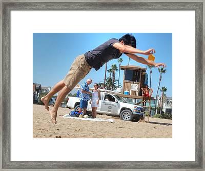 Flying Tourist Framed Print