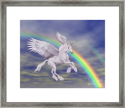 Flying Unicorn And Rainbow Framed Print
