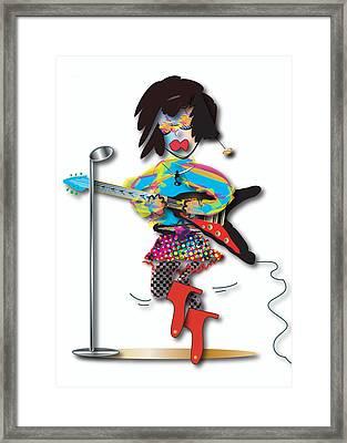 Framed Print featuring the digital art Flying V Girl by Marvin Blaine