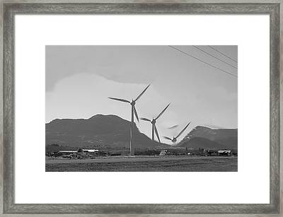 Flying Wind Turbines Framed Print by Mavis Reid Nugent