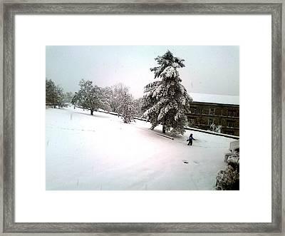 Flying With A Broom Framed Print by S M