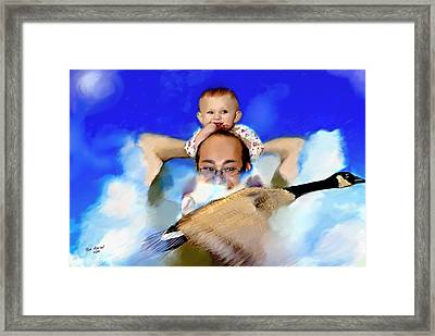 Framed Print featuring the painting Flying With Canada Geese by Ted Azriel