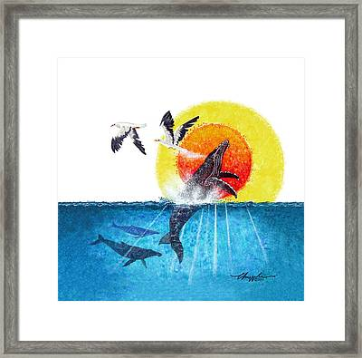Flying With Whales Framed Print