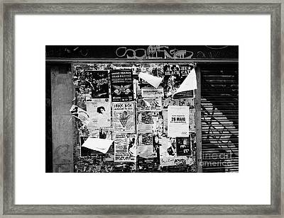 Flyposters Outside A Disused Shop In Barcelona Catalonia Spain Framed Print by Joe Fox