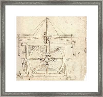 Flywheel Mechanical Drawing Framed Print