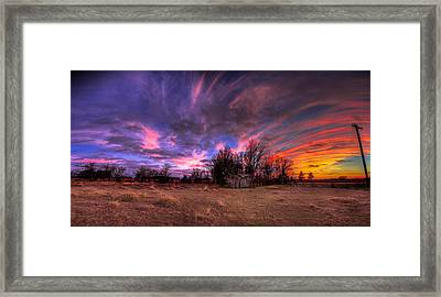Fm Sunset Pano In Needville Texas Framed Print by Micah Goff