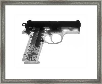 Fn P9a Hand Gun X-ray Print Framed Print by Ray Gunz
