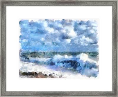 Foam Waves At Sea Framed Print by Yury Malkov