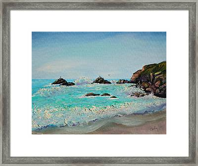 Framed Print featuring the painting Foamy Ocean Waves And Sandy Shore by Asha Carolyn Young