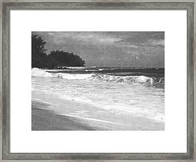 Foamy Surf Pencil Rendering Framed Print by Frank Wilson