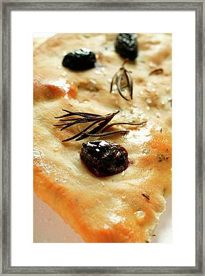 Focaccia With Olives And Rosemary (close-up) Framed Print