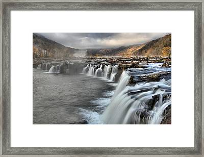 Fog And Foliage At Sandstone Falls Framed Print by Adam Jewell