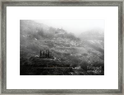 Fog And Snow With Powderbox Church In Jerome Az Framed Print