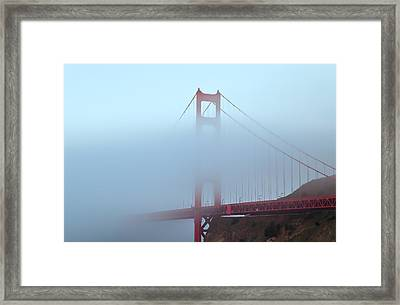 Fog And The Golden Gate Framed Print by Jonathan Nguyen