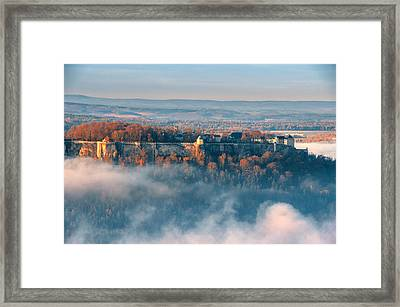Fog Around The Fortress Koenigstein Framed Print