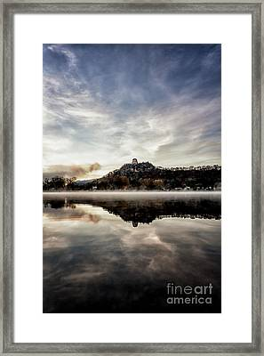 Framed Print featuring the photograph Fog At East Lake Winona by Kari Yearous
