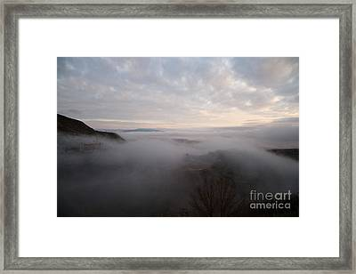 Framed Print featuring the photograph Fog At Sunrise In Jerome Arizona With San Francisco Peaks Of Flagstaff In The Distance by Ron Chilston