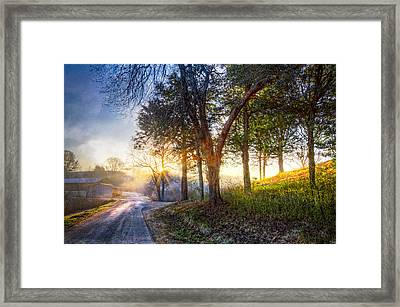 Fog At The Farm Framed Print by Debra and Dave Vanderlaan