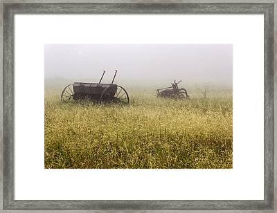 Fog Covered Field Framed Print by Dana Moyer