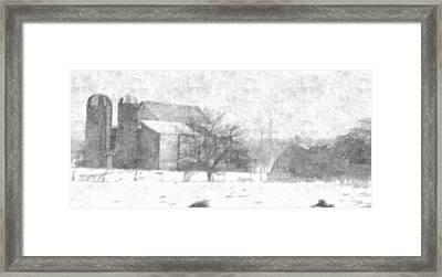 Fog Down On The Farm Framed Print by Rosemarie E Seppala