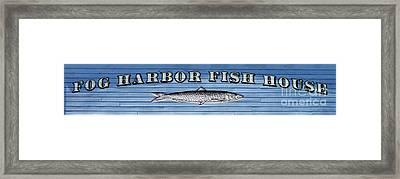 Fog Harbor Fish House Framed Print by Jon Neidert
