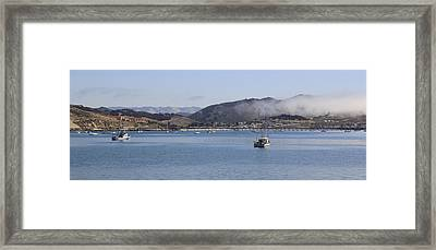 Fog Hovering Over San Luis Obispo Bay Framed Print by Jan Cipolla