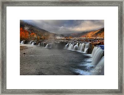 Fog In The Sandstone Falls Valley Framed Print by Adam Jewell
