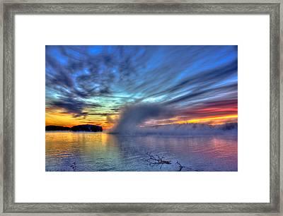 Sunrise Fog At Sugar Creek On Lake Oconee Framed Print by Reid Callaway