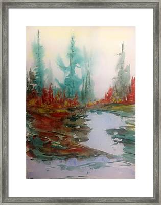 Fog In The Woods - Fall Framed Print by Desmond Raymond