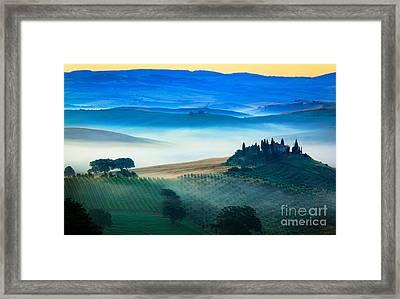 Fog In Tuscan Valley Framed Print