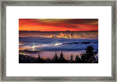 Fog Inversion Over Vancouver Framed Print