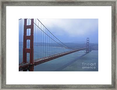 Fog Lifting Over The Golden Bridge  Framed Print