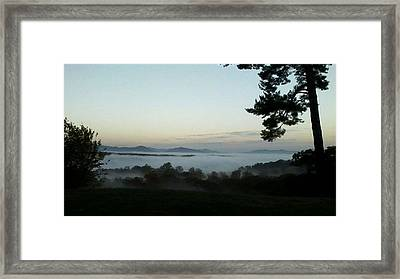 Framed Print featuring the photograph Fog Mountain Lake by Deb Martin-Webster