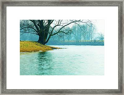 Fog On A River In Autumn Framed Print