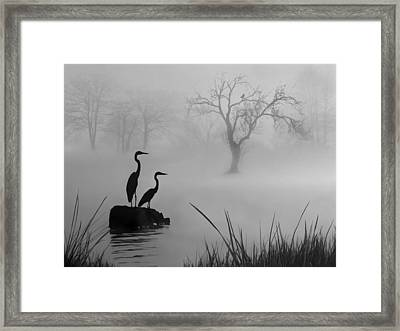 Framed Print featuring the digital art Fog On The Lake by Nina Bradica