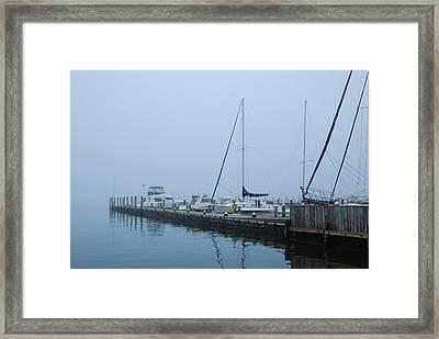 Fog On The Marina - Jersey Shore Framed Print by Angie Tirado