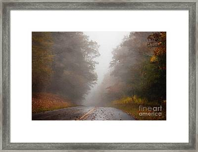 Fog On The Road Framed Print