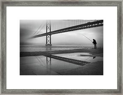 Fog On The Tagus River ! Framed Print