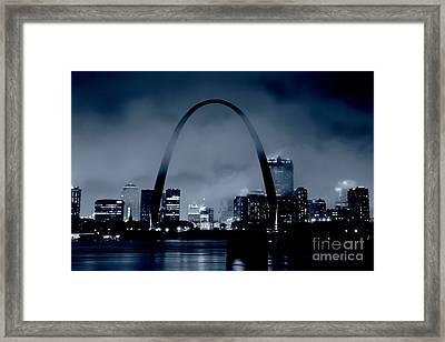 Fog Over St Louis Monochrome Framed Print