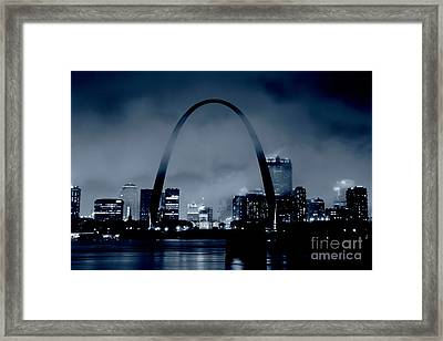 Fog Over St Louis Monochrome Framed Print by Garry McMichael