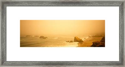 Fog Over The Beach, Mendocino Framed Print