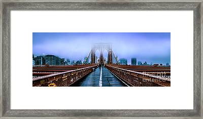 Fog Over The Brooklyn Framed Print by Az Jackson