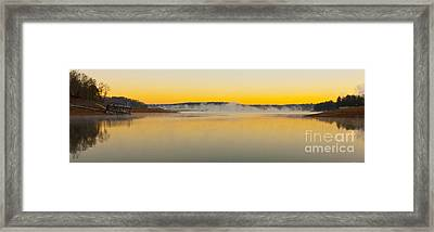 Fog Over The Lake Framed Print by Michael Waters