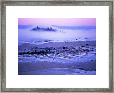 Fog Over The Sand Dunes At Dawn Framed Print by Robert L. Potts