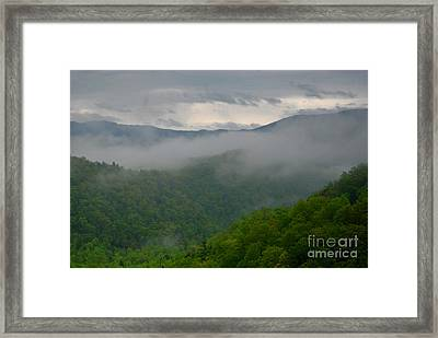 Fog Over The Smokies Framed Print by Nancy Mueller