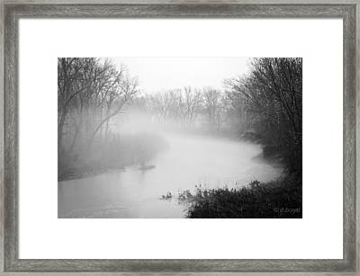 Fog Over The Stream Framed Print by Diana Boyd