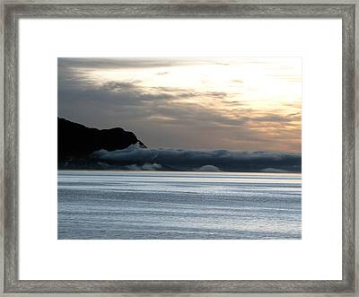 Framed Print featuring the photograph Fog Roll Sunset by Jennifer Wheatley Wolf