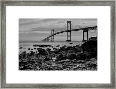 Fog Rolls Over The East Passage Framed Print by Andrew Pacheco