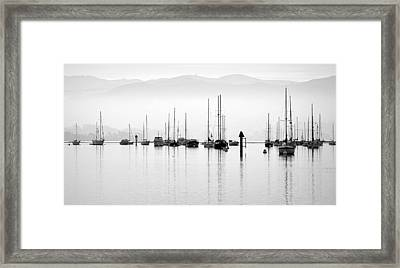 Fog Settles On Morro Bay Framed Print by AJ  Schibig