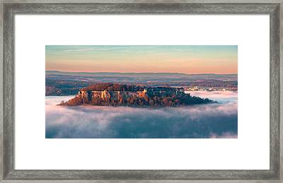 Fog Surrounding The Fortress Koenigstein Framed Print
